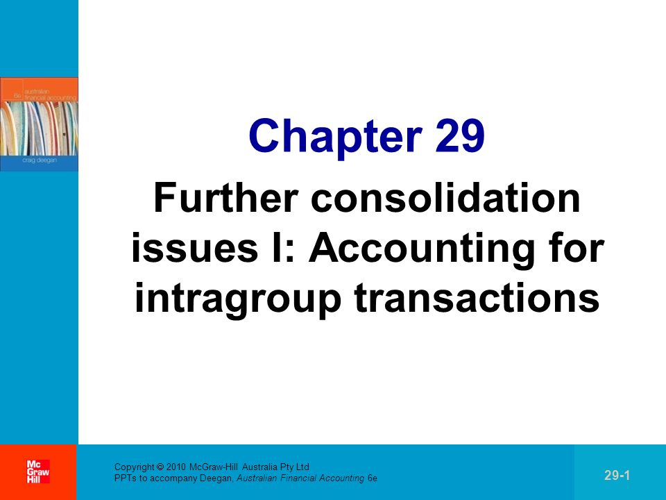 . Copyright 2010 McGraw-Hill Australia Pty Ltd PPTs to accompany Deegan, Australian Financial Accounting 6e 29-1 Chapter 29 Further consolidation issu
