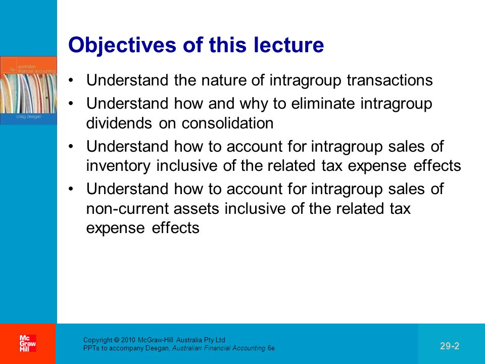 . Copyright 2010 McGraw-Hill Australia Pty Ltd PPTs to accompany Deegan, Australian Financial Accounting 6e 29-33 Worked Example 29.5Solution The result of the sale of the item of plant to Sandy Ltd is that the gain of $180 000the difference between the sales proceeds of $780 000 and the carrying amount of $600 000will be shown in Eddie Ltds financial statements However, from the economic entitys perspective there has been no sale and therefore no gain on sale given that there has been no transaction with a party external to the group The following entry is necessary so that the financial statements will reflect the balances that would have applied had the intragroup sale not occurred Dr Gain on sale of plant 180 000 Dr Plant 220 000 Cr Accumulated depreciation 400 000 The result of this entry is that the intragroup gain is removed and the asset and accumulated depreciation accounts revert to reflecting the situation had no sales transaction occurred