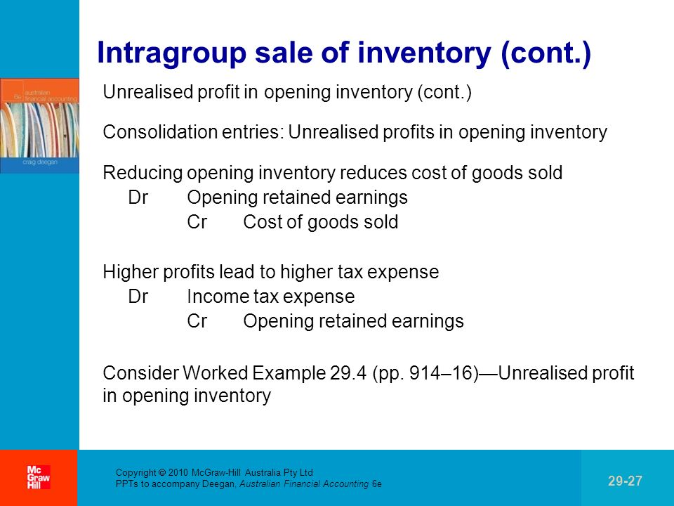 . Copyright 2010 McGraw-Hill Australia Pty Ltd PPTs to accompany Deegan, Australian Financial Accounting 6e 29-27 Intragroup sale of inventory (cont.)