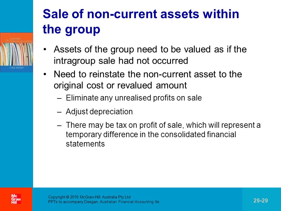 . Copyright 2010 McGraw-Hill Australia Pty Ltd PPTs to accompany Deegan, Australian Financial Accounting 6e 29-29 Sale of non-current assets within th