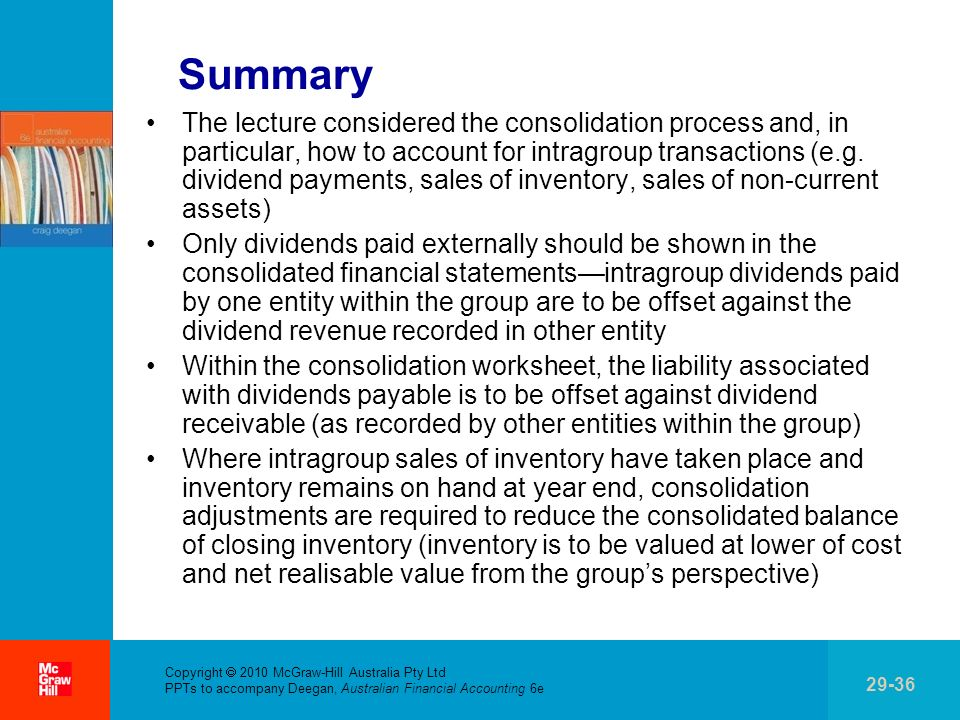. Copyright 2010 McGraw-Hill Australia Pty Ltd PPTs to accompany Deegan, Australian Financial Accounting 6e 29-36 Summary The lecture considered the c