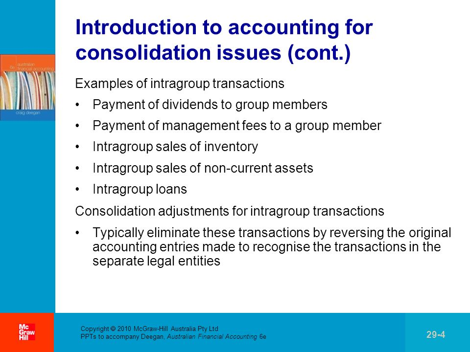 Copyright 2010 McGraw-Hill Australia Pty Ltd PPTs to accompany Deegan, Australian Financial Accounting 6e 29-25 Worked Example 29.3Unrealised profit in closing inventoryConsolidation entries (cont.) Consideration of the tax paid on the sale of inventory that is still held within the group From the groups perspective, $40 000 has not been earned.