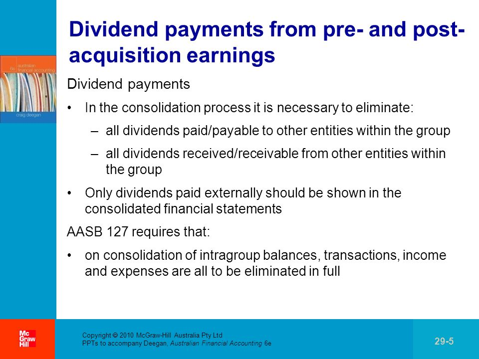 Copyright 2010 McGraw-Hill Australia Pty Ltd PPTs to accompany Deegan, Australian Financial Accounting 6e 29-36 Summary The lecture considered the consolidation process and, in particular, how to account for intragroup transactions (e.g.