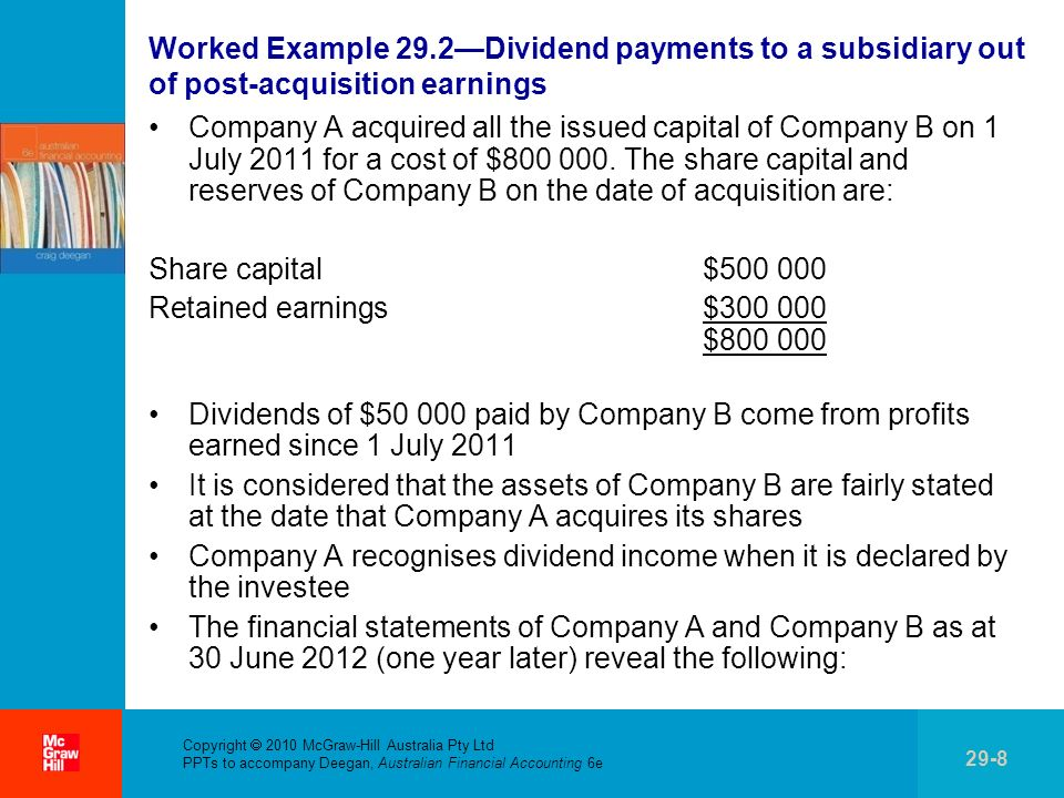 . Copyright 2010 McGraw-Hill Australia Pty Ltd PPTs to accompany Deegan, Australian Financial Accounting 6e 29-19 Intragroup sale of inventory (cont.) Each member of a group is typically taxed individually on its income, not the group collectively If tax has been paid by one member of the group, from the groups perspective this represents a prepayment of tax (deferred tax asset) to the extent that the inventory remains within the group (meaning that the related profit is unrealised from the perspective of the economic entity) This income will not be earned by the economic entity until the inventory is sold outside the group