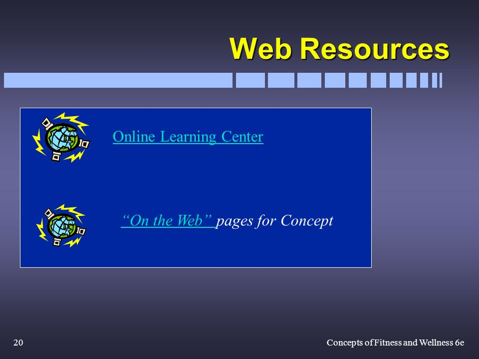 20Concepts of Fitness and Wellness 6e Web Resources On the Web On the Web pages for Concept Online Learning Center