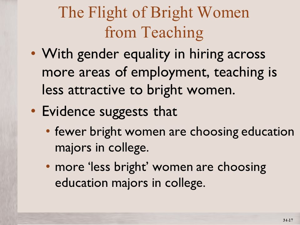 1- 17 ©2012 The McGraw-Hill Companies, All Rights ReservedMcGraw-Hill/Irwin The Flight of Bright Women from Teaching With gender equality in hiring across more areas of employment, teaching is less attractive to bright women.
