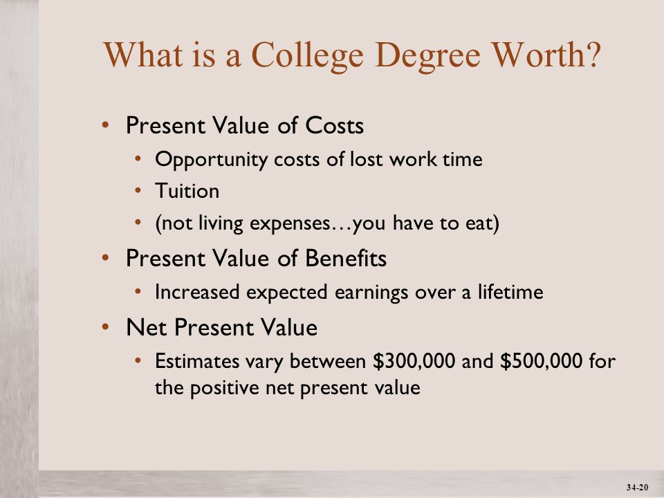 1- 20 ©2012 The McGraw-Hill Companies, All Rights ReservedMcGraw-Hill/Irwin 34-20 What is a College Degree Worth.