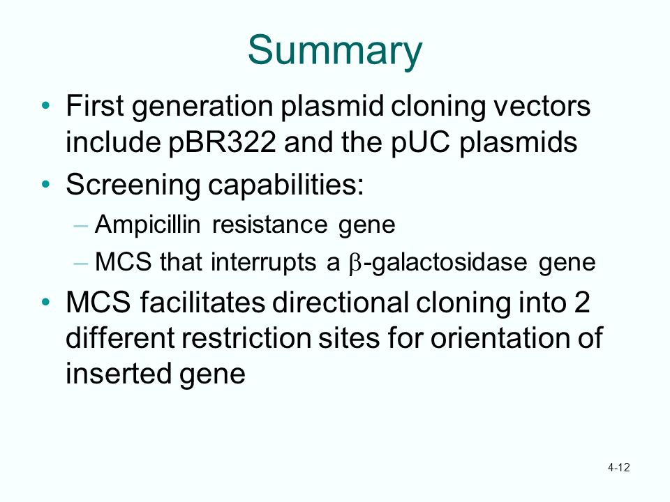 4-12 Summary First generation plasmid cloning vectors include pBR322 and the pUC plasmids Screening capabilities: –Ampicillin resistance gene –MCS tha