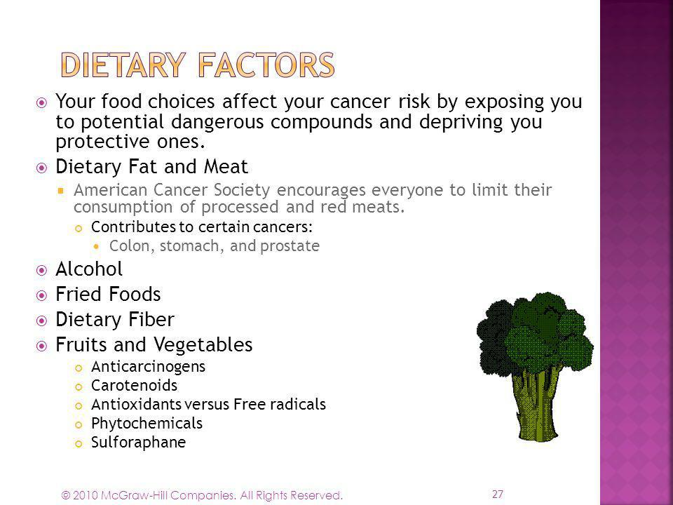 © 2010 McGraw-Hill Companies. All Rights Reserved. Your food choices affect your cancer risk by exposing you to potential dangerous compounds and depr