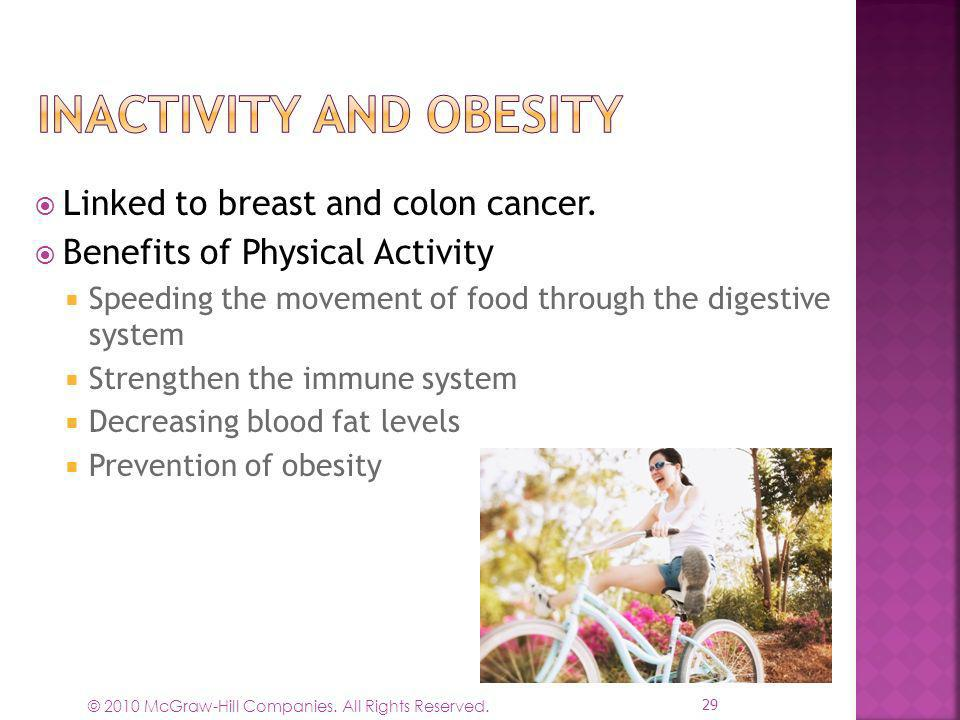© 2010 McGraw-Hill Companies. All Rights Reserved. Linked to breast and colon cancer. Benefits of Physical Activity Speeding the movement of food thro