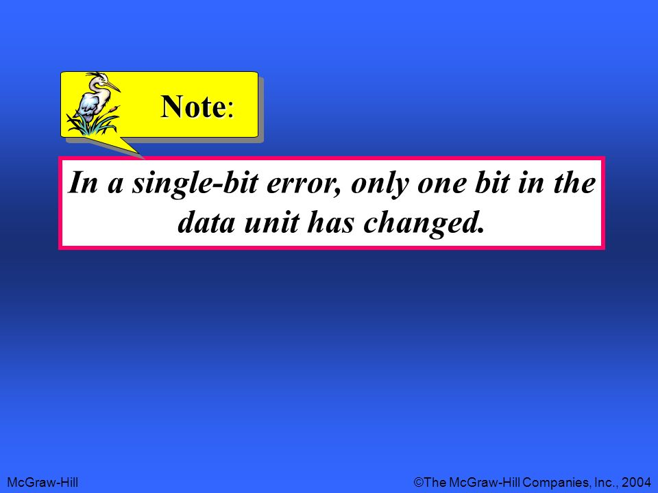 McGraw-Hill©The McGraw-Hill Companies, Inc., 2004 In a single-bit error, only one bit in the data unit has changed.