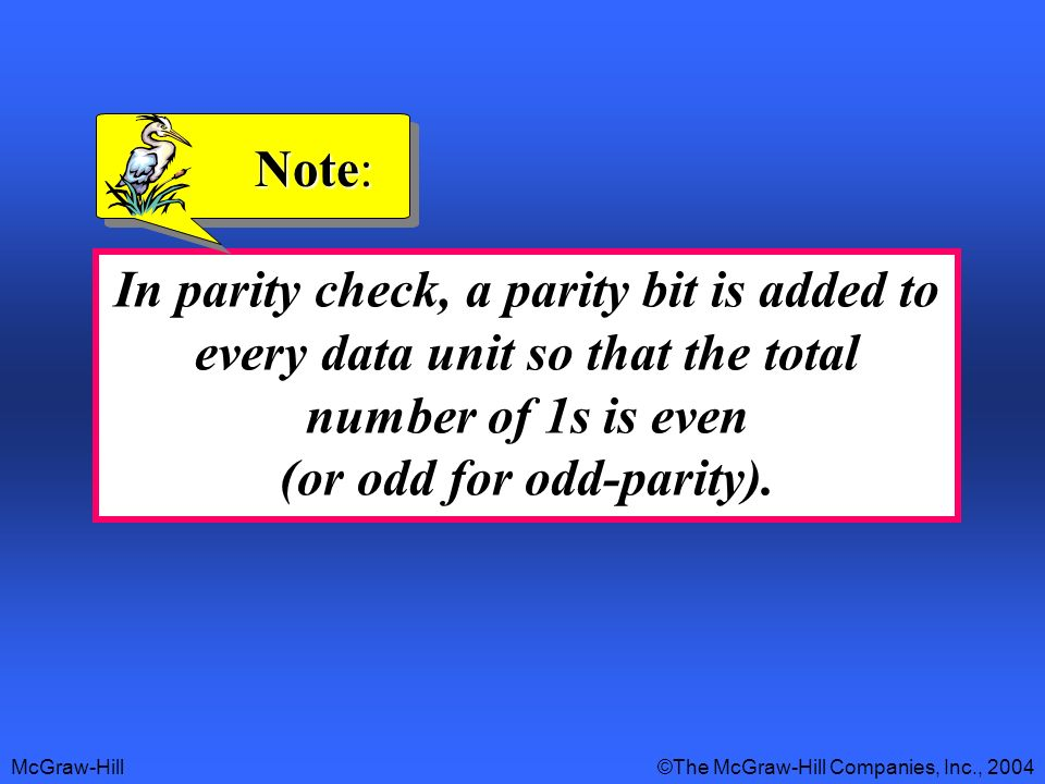 McGraw-Hill©The McGraw-Hill Companies, Inc., 2004 In parity check, a parity bit is added to every data unit so that the total number of 1s is even (or odd for odd-parity).