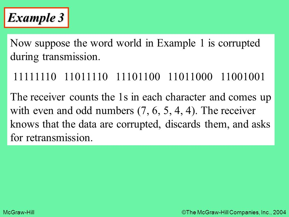 McGraw-Hill©The McGraw-Hill Companies, Inc., 2004 Example 3 Now suppose the word world in Example 1 is corrupted during transmission.
