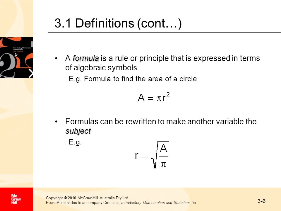 3-6 Copyright 2010 McGraw-Hill Australia Pty Ltd PowerPoint slides to accompany Croucher, Introductory Mathematics and Statistics, 5e 3.1 Definitions