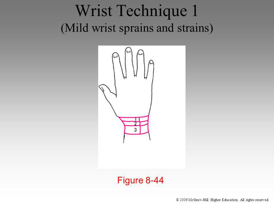 © 2009 McGraw-Hill Higher Education. All rights reserved. Wrist Technique 1 (Mild wrist sprains and strains) Figure 8-44