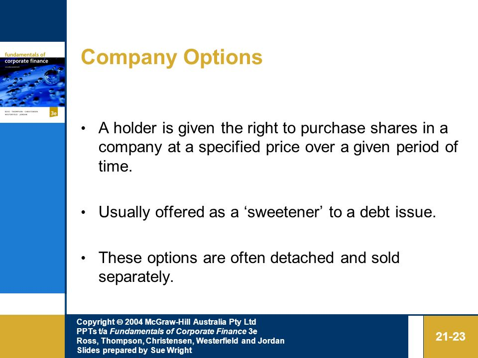 Copyright 2004 McGraw-Hill Australia Pty Ltd PPTs t/a Fundamentals of Corporate Finance 3e Ross, Thompson, Christensen, Westerfield and Jordan Slides