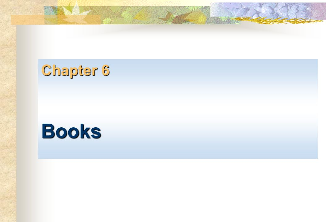 Chapter 6 Books