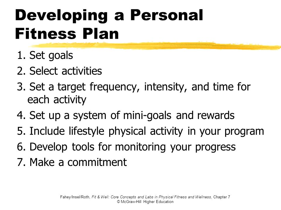 Fahey/Insel/Roth, Fit & Well: Core Concepts and Labs in Physical Fitness and Wellness, Chapter 7 © McGraw-Hill Higher Education Developing a Personal