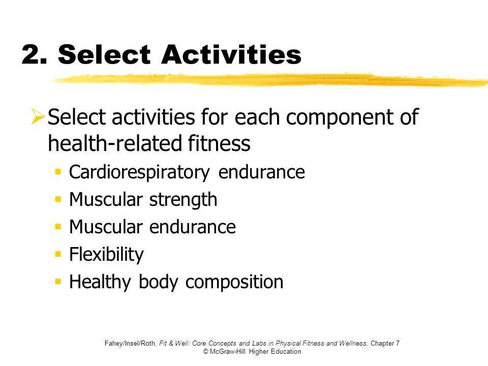 Fahey/Insel/Roth, Fit & Well: Core Concepts and Labs in Physical Fitness and Wellness, Chapter 7 © McGraw-Hill Higher Education 2. Select Activities S