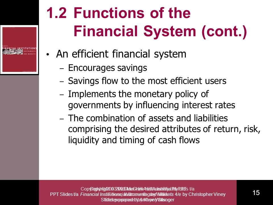 Copyright 2003 McGraw-Hill Australia Pty Ltd PPT Slides t/a Financial Institutions, Instruments and Markets 4/e by Christopher Viney Slides prepared by Anthony Stanger 15 Copyright 2003 McGraw-Hill Australia Pty Ltd PPTs t/a Financial Accounting by Willis Slides prepared by Kaye Watson 1.2 Functions of the Financial System (cont.) An efficient financial system – Encourages savings – Savings flow to the most efficient users – Implements the monetary policy of governments by influencing interest rates – The combination of assets and liabilities comprising the desired attributes of return, risk, liquidity and timing of cash flows