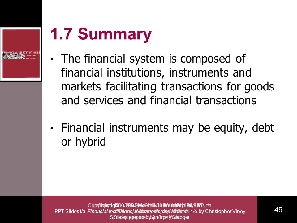 Copyright 2003 McGraw-Hill Australia Pty Ltd PPT Slides t/a Financial Institutions, Instruments and Markets 4/e by Christopher Viney Slides prepared by Anthony Stanger 49 Copyright 2003 McGraw-Hill Australia Pty Ltd PPTs t/a Financial Accounting by Willis Slides prepared by Kaye Watson 1.7 Summary The financial system is composed of financial institutions, instruments and markets facilitating transactions for goods and services and financial transactions Financial instruments may be equity, debt or hybrid