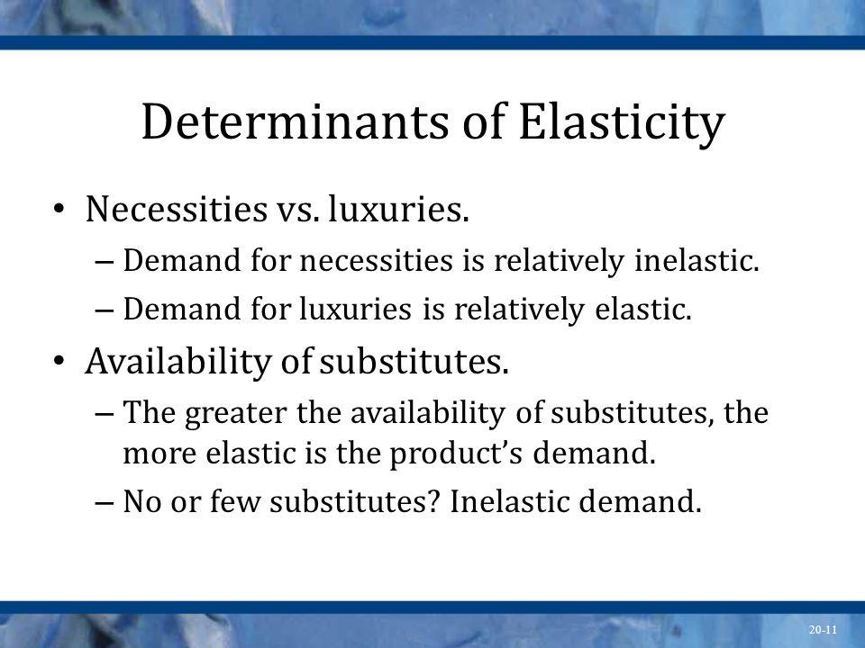 20-11 Determinants of Elasticity Necessities vs. luxuries. – Demand for necessities is relatively inelastic. – Demand for luxuries is relatively elast