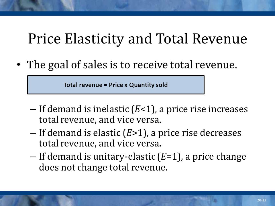 20-13 Price Elasticity and Total Revenue The goal of sales is to receive total revenue. – If demand is inelastic (E<1), a price rise increases total r