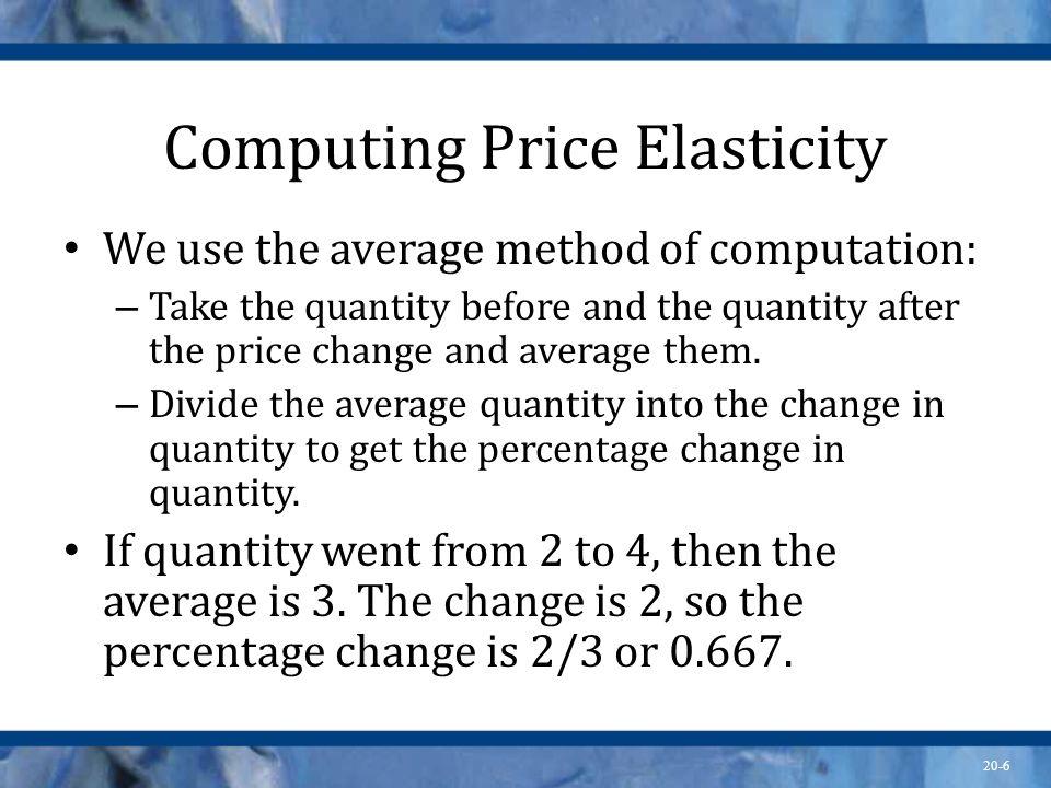 20-6 Computing Price Elasticity We use the average method of computation: – Take the quantity before and the quantity after the price change and avera