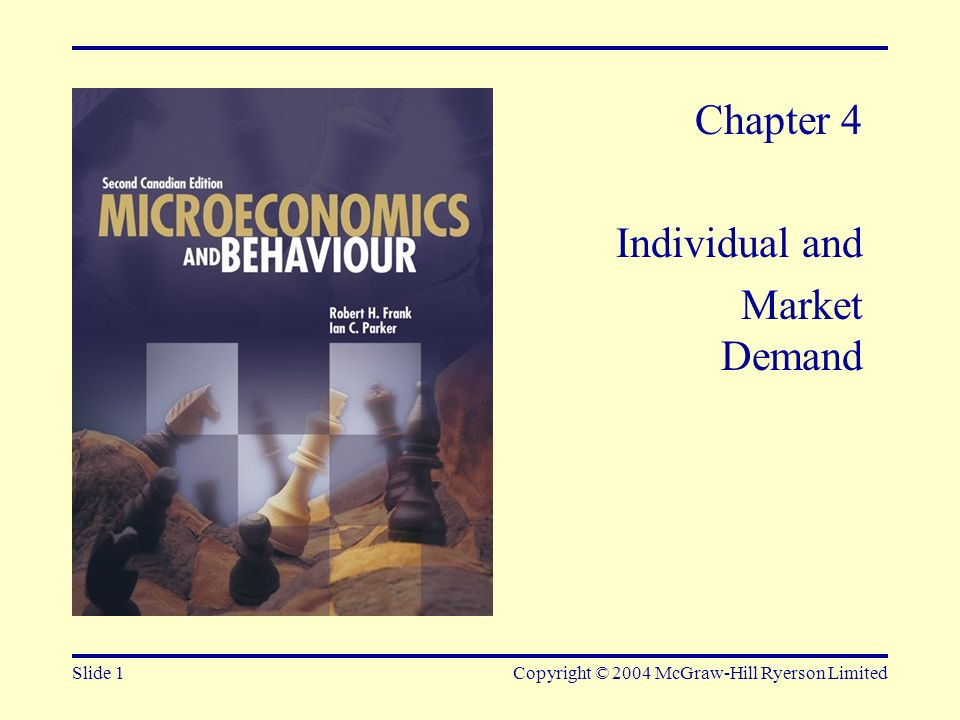 Slide 32Copyright © 2004 McGraw-Hill Ryerson Limited FIGURE 4-27 Market Demand Sometimes Depends on the Distribution of Income A given increase in income produces a small demand increase for B (b); an income reduction of the same size produces a larger demand reduction for A (a).