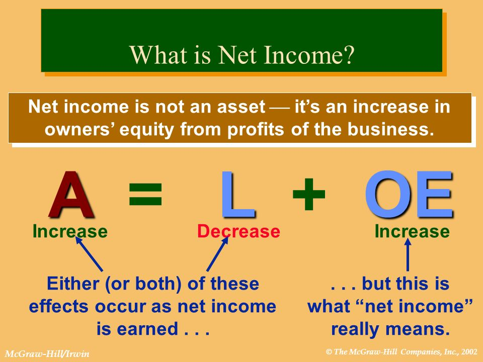 © The McGraw-Hill Companies, Inc., 2002 McGraw-Hill/Irwin Net income is not an asset its an increase in owners equity from profits of the business. AL