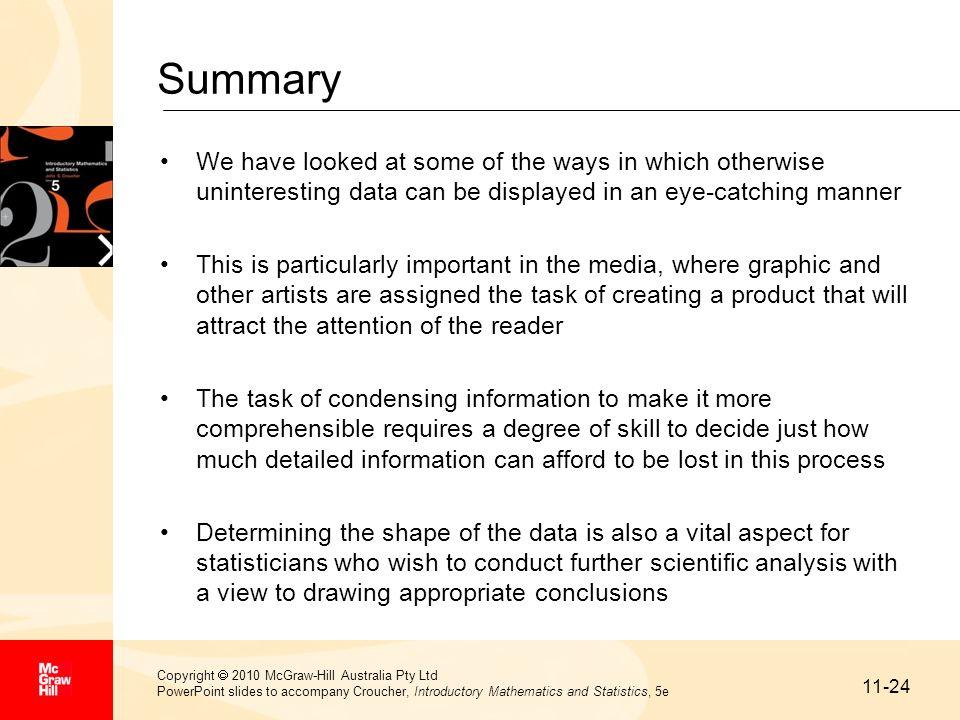 11-24 Copyright 2010 McGraw-Hill Australia Pty Ltd PowerPoint slides to accompany Croucher, Introductory Mathematics and Statistics, 5e Summary We hav
