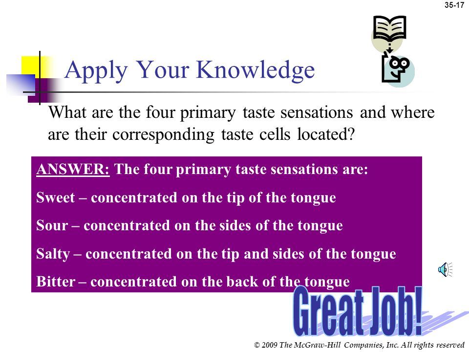 © 2009 The McGraw-Hill Companies, Inc. All rights reserved 35-16 Tongue and Sense of Taste (cont.) Activation of taste cells Cranial nerves Gustatory