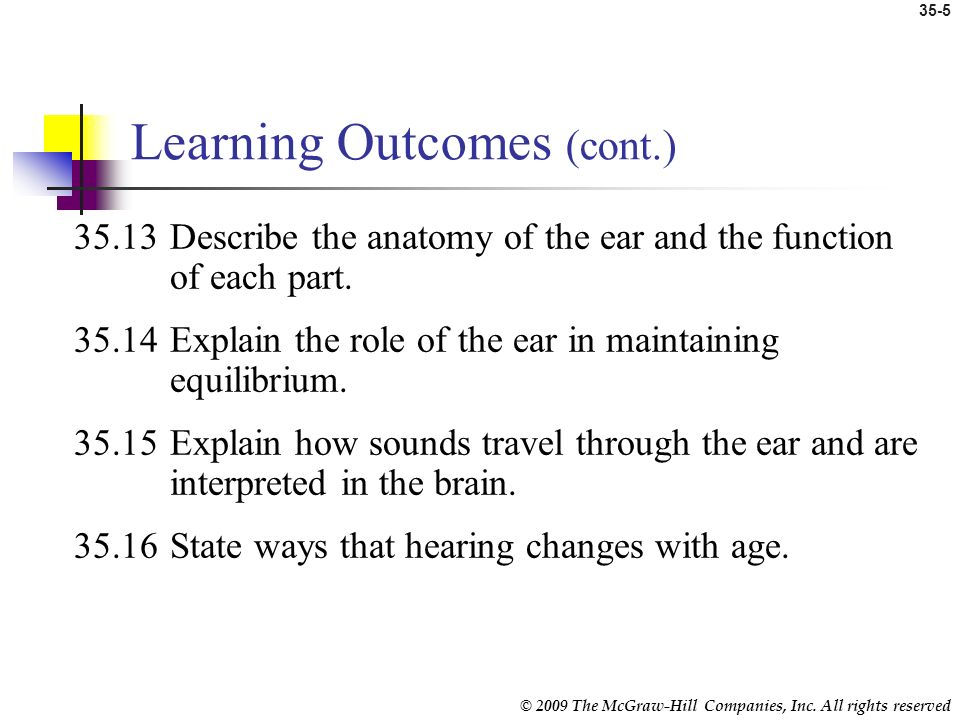 © 2009 The McGraw-Hill Companies, Inc. All rights reserved 35-4 Learning Outcomes (cont.) 35.9State ways that vision changes with age. 35.10List the m
