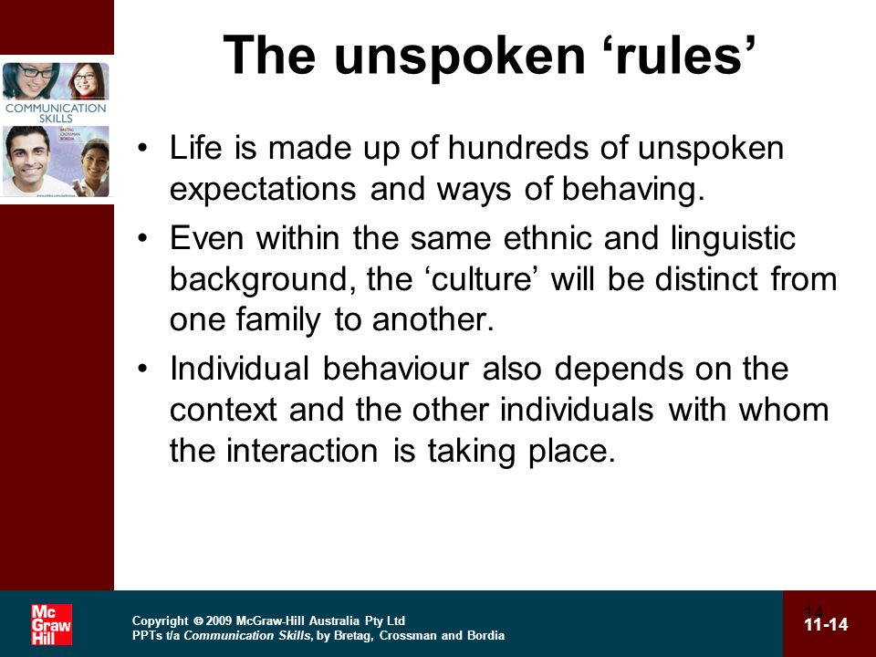 Copyright 2009 McGraw-Hill Australia Pty Ltd PPTs t/a Communication Skills, by Bretag, Crossman and Bordia 11-14 14 The unspoken rules Life is made up of hundreds of unspoken expectations and ways of behaving.