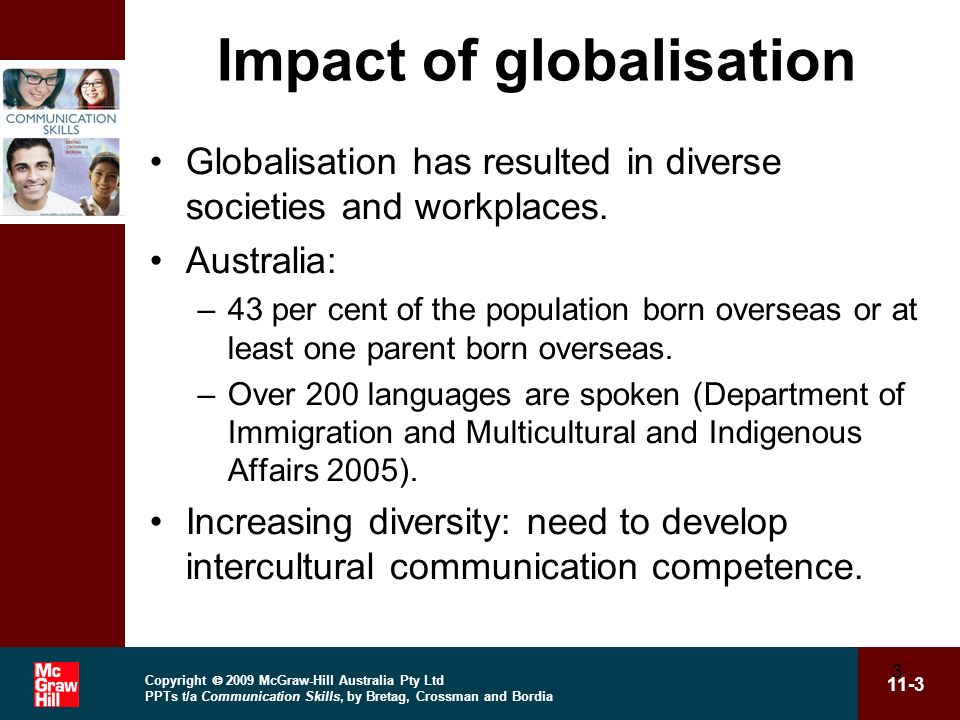 Copyright 2009 McGraw-Hill Australia Pty Ltd PPTs t/a Communication Skills, by Bretag, Crossman and Bordia 11-3 3 Impact of globalisation Globalisation has resulted in diverse societies and workplaces.