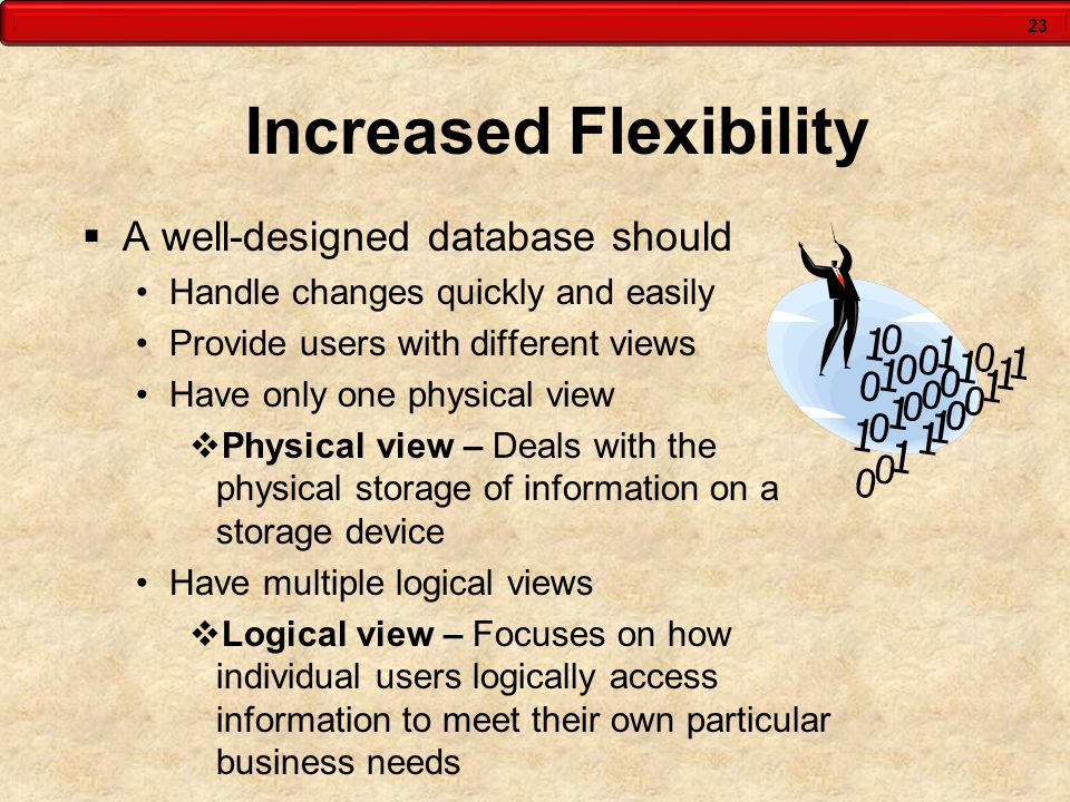 23 Increased Flexibility A well-designed database should Handle changes quickly and easily Provide users with different views Have only one physical v