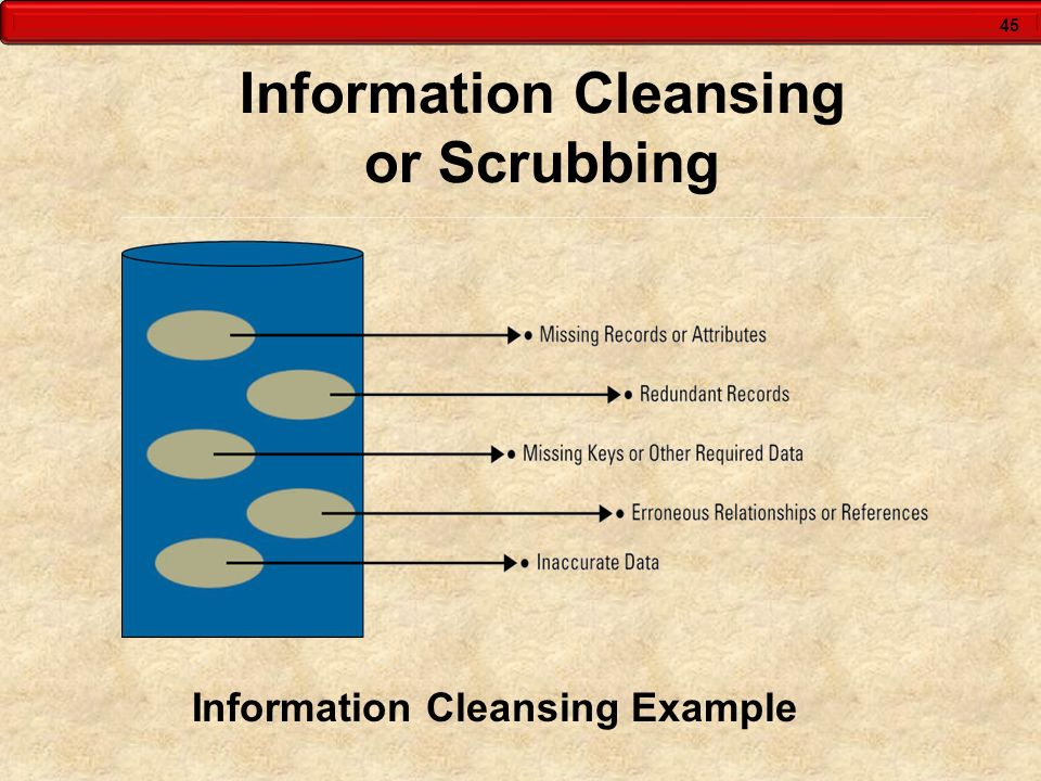45 Information Cleansing or Scrubbing Information Cleansing Example