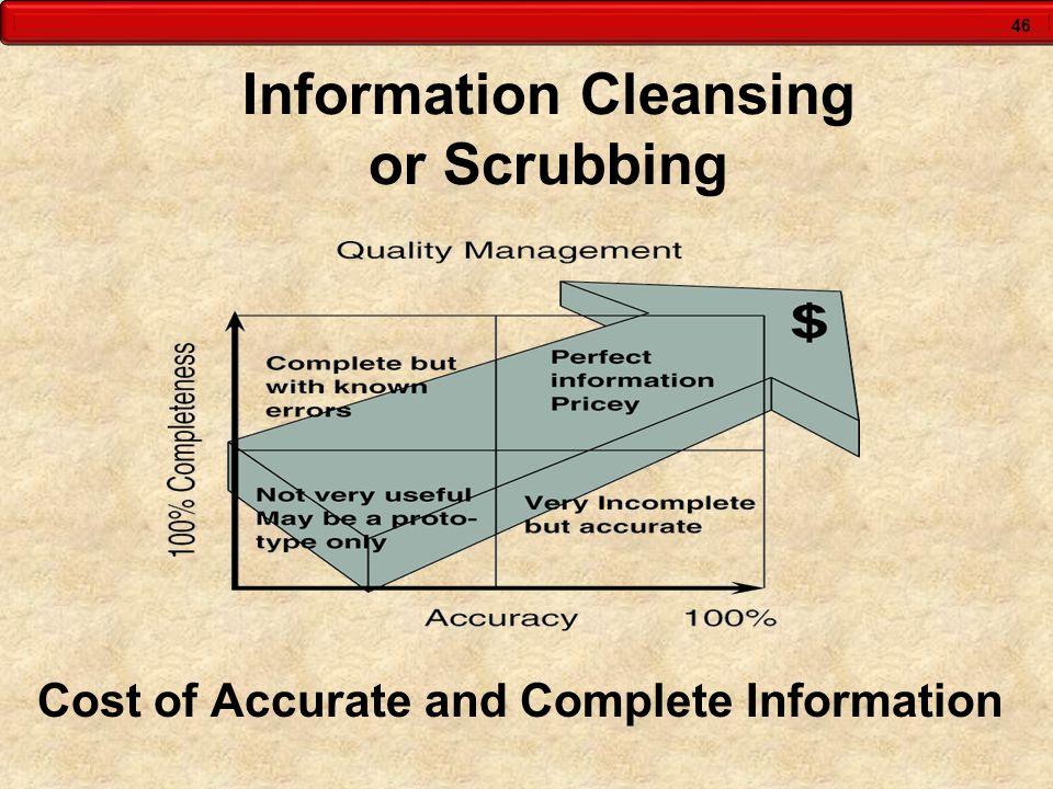 46 Information Cleansing or Scrubbing Cost of Accurate and Complete Information