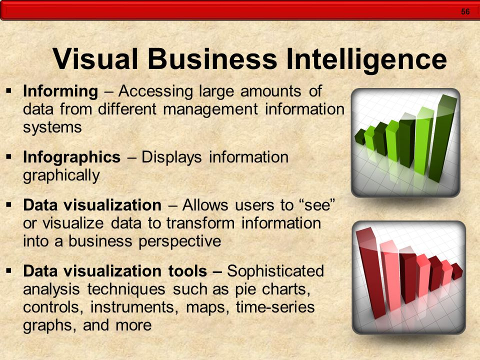 56 Visual Business Intelligence Informing – Accessing large amounts of data from different management information systems Infographics – Displays info