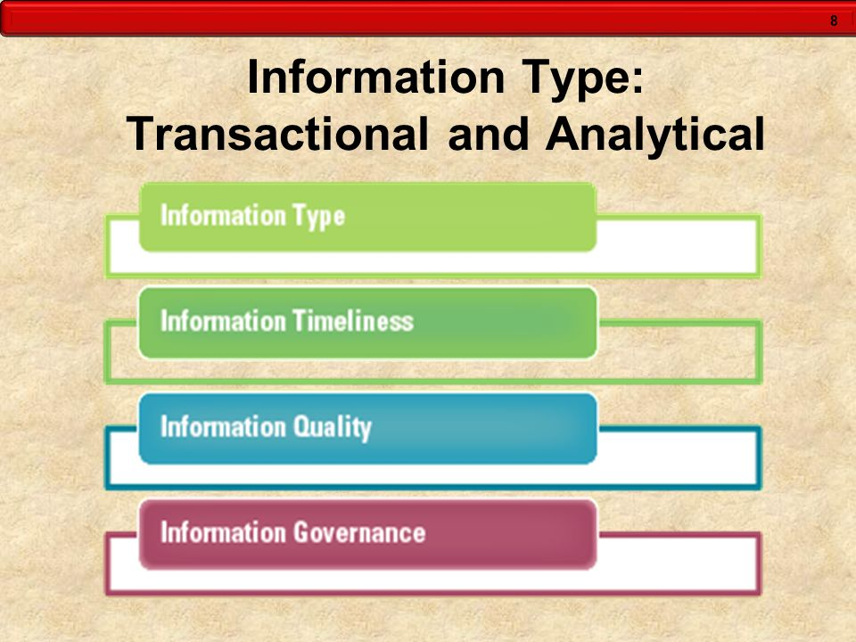 8 Information Type: Transactional and Analytical