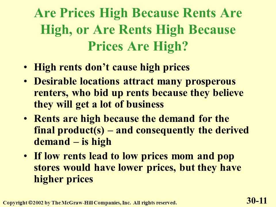 Are Prices High Because Rents Are High, or Are Rents High Because Prices Are High.