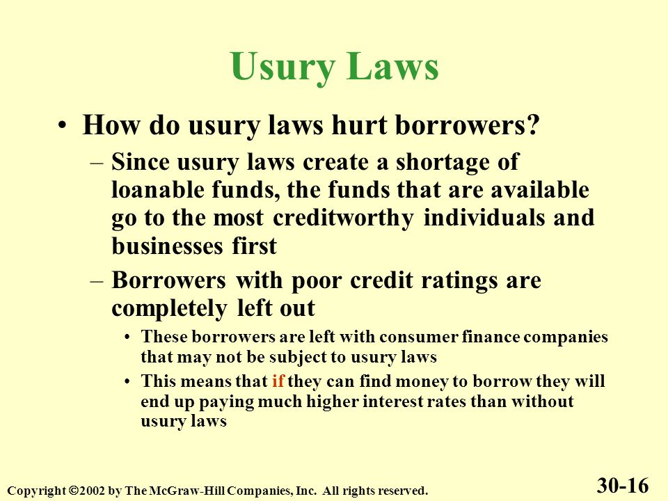 Usury Laws How do usury laws hurt borrowers.