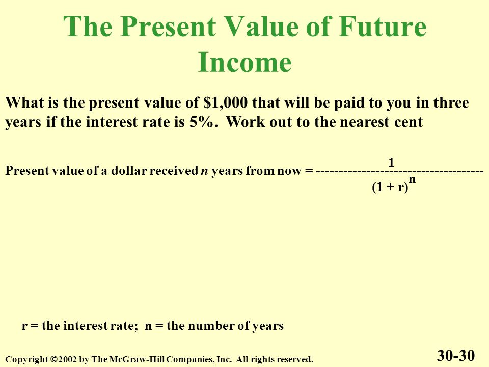 The Present Value of Future Income 30-30 Copyright 2002 by The McGraw-Hill Companies, Inc.