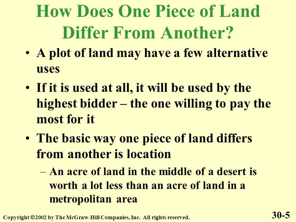 How Does One Piece of Land Differ From Another.