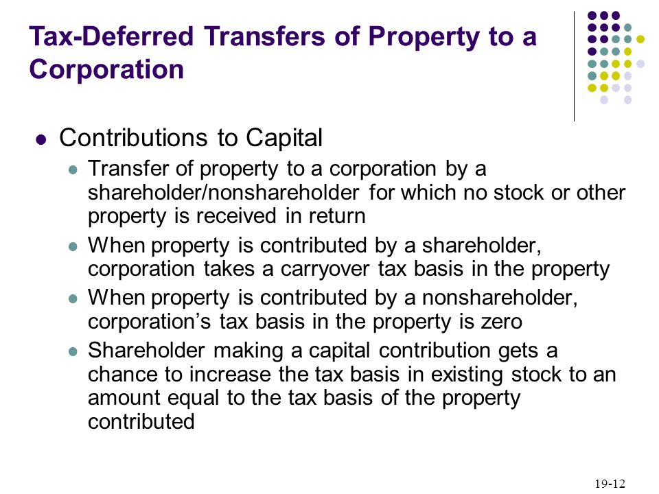 19-12 Contributions to Capital Transfer of property to a corporation by a shareholder/nonshareholder for which no stock or other property is received