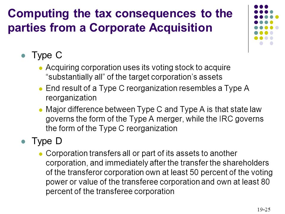 19-25 Type C Acquiring corporation uses its voting stock to acquire substantially all of the target corporations assets End result of a Type C reorgan