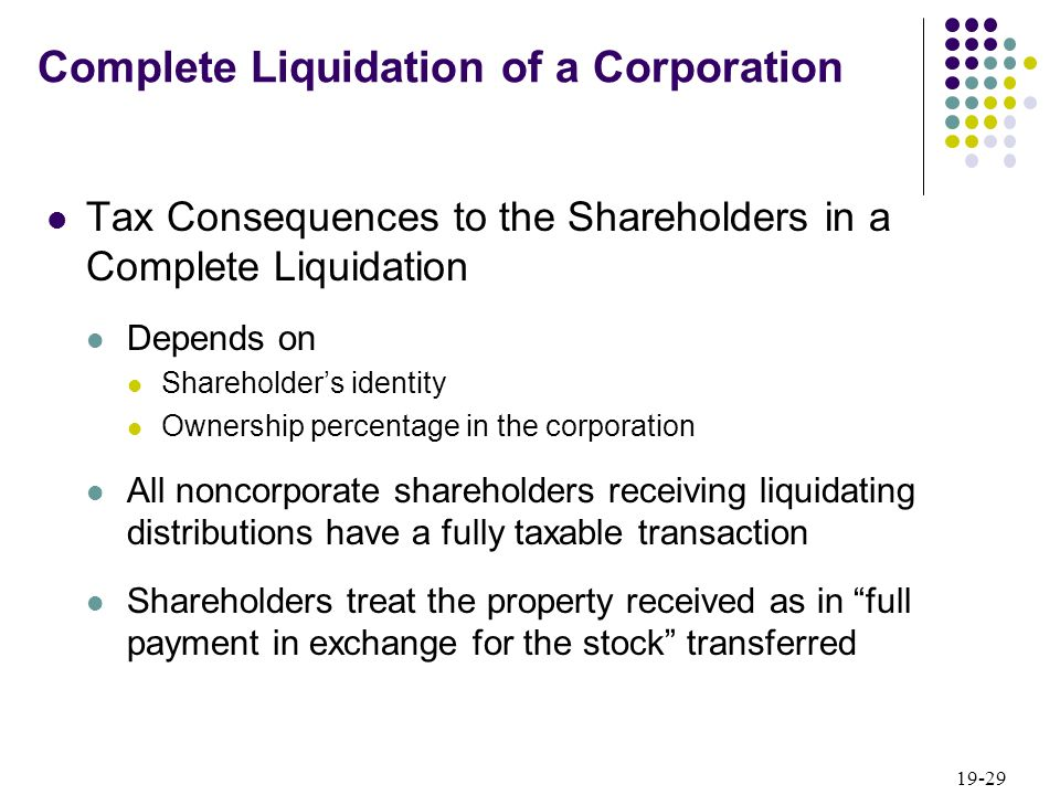 19-29 Tax Consequences to the Shareholders in a Complete Liquidation Depends on Shareholders identity Ownership percentage in the corporation All nonc