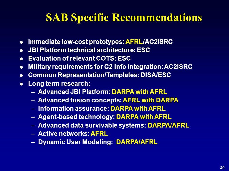 26 SAB Specific Recommendations Immediate low-cost prototypes: AFRL/AC2ISRC JBI Platform technical architecture: ESC Evaluation of relevant COTS: ESC