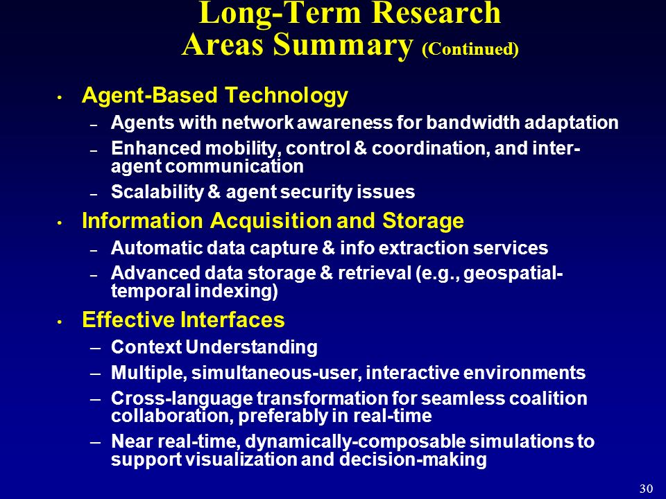 30 Long-Term Research Areas Summary (Continued) Agent-Based Technology – Agents with network awareness for bandwidth adaptation – Enhanced mobility, c