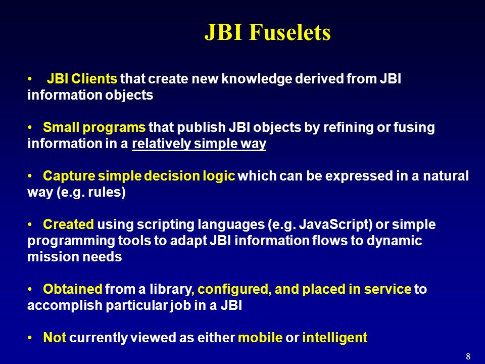 9 Example: fuselets that aggregate Each air base publishes a base status object to the JBI.